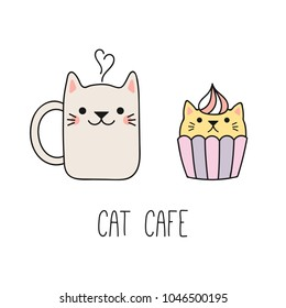 Hand drawn vector illustration of a kawaii funny steaming mug cup, cupcake with cat ears. Isolated objects on white background. Line drawing. Design concept for cat cafe, children print.
