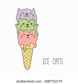 Hand drawn vector illustration of a kawaii funny ice cream cone with cat ears. Isolated objects on white background. Line drawing. Design concept for cat cafe menu, children print.
