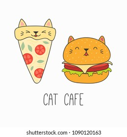 Hand drawn vector illustration of a kawaii funny pizza slice and burger with cat ears. Isolated objects on white background. Line drawing. Design concept for cat cafe menu, children print.