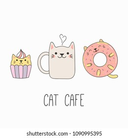 Hand drawn vector illustration of a kawaii funny steaming mug cup, cupcake and donut with cat ears. Isolated objects on white background. Line drawing. Design concept for cat cafe menu, children print