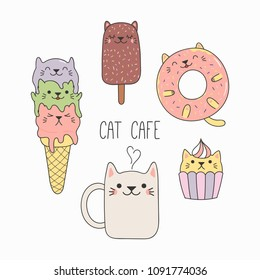 Hand drawn vector illustration of a kawaii funny desserts and steaming mug cup with cat ears. Isolated objects on white background. Line drawing. Design concept for cat cafe menu, children print.