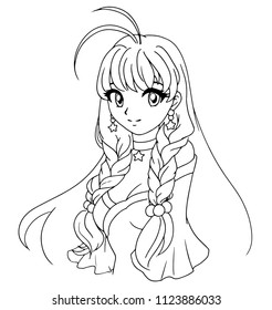 Hand drawn vector illustration. Kawaii anime girl. Big eyes. Vector illustration. Can be used for children's coloring book, coloring pages, games, tattoo, cards.