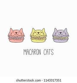 Hand drawn vector illustration of a kawaii funny macarons with cat ears, with text. Isolated objects on white background. Line drawing. Design concept for cafe menu, children print.