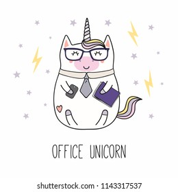 Hand drawn vector illustration of a kawaii funny fat office unicorn in a tie, with a smart phone, documents, text. Isolated objects on white background. Line drawing. Design concept for children print