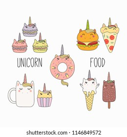 Hand drawn vector illustration of a kawaii funny food with unicorn horn, ears, with text. Isolated objects on white background. Line drawing. Design concept for cafe menu, children print.