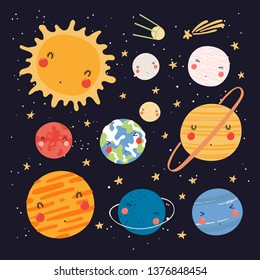 Hand drawn vector illustration of kawaii solar system planets and sun. Isolated objects on dark background. Scandinavian style flat design. Concept for children print.