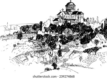 Hand drawn vector illustration. Landscape with church. Sketch drawing of view of Hersonissos. Crimea