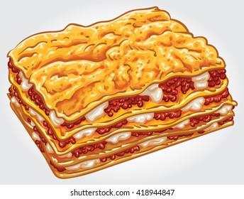 Hand drawn vector illustration of a Lasagne / Lasagna portion.