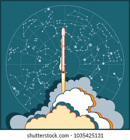 Hand drawn vector illustration with launching rocket. Falcon 9 shipped with steam in night sky with constellations map by SpaceX. Vector cartoon illustration for web, postcard, poster, clothing print.