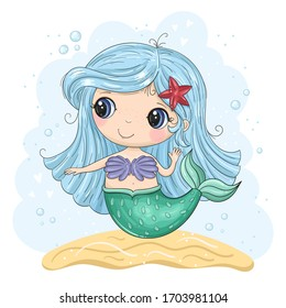 Hand drawn vector illustration with little mermaid cute print