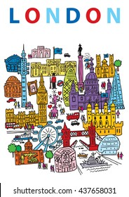 A hand drawn vector illustration of London City, England, and some of its landmark architecture.