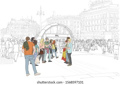 Hand drawn vector illustration. Madrid, Spain, at the subway in famous Plaza Del Sol, people gather.