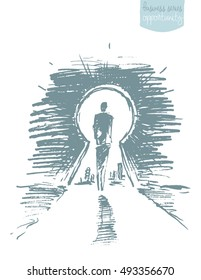 Hand drawn vector illustration of a man, standing in front of open keyhole. Achievement concept, sketch