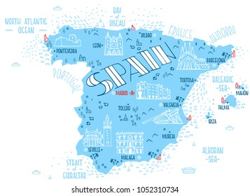Hand drawn vector illustration.  Map of Spain with isolated doodle icons of main symbols of Spain.
