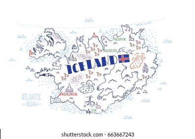 Hand drawn vector illustration.  Map of Iceland with isolated doodle icons of main symbols of Iceland.