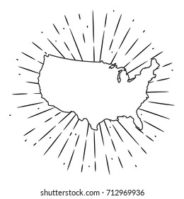 Hand drawn vector illustration with map USA and divergent rays. Used for poster, banner, web, t-shirt print, bag print, badges, flyer, logo design and more.