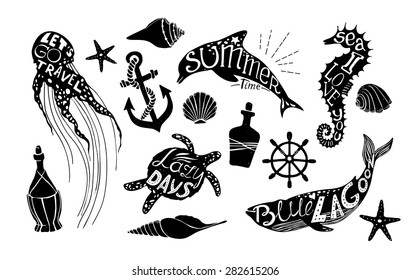 Hand drawn vector illustration - Marine kit. Graphic elements for design creation, postcards, banners and invitations. Silhouette of whales, dolphins, sea horses, turtles and jellyfish with citations.