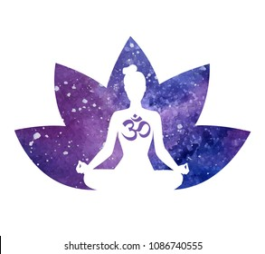 Hand drawn vector illustration of meditating woman with a lotus flower. Female silhouette in meditating pose and petals with space texture on white. Yoga concept print, poster, card and flier design.