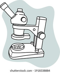 Hand drawn vector illustration of a microscope. Cute modern microscop doodle isolated on white background.