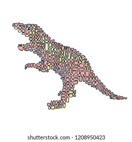 Hand drawn vector illustration in Mondriaan (Mondrian) style isolated pink dinosaur on a white background for design, banner, logo.