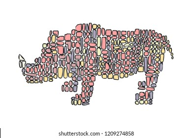 Hand drawn vector illustration in Mondriaan (Mondrian) style isolated pink dinosaur rhinoceros on a white background for design, banner, logo.