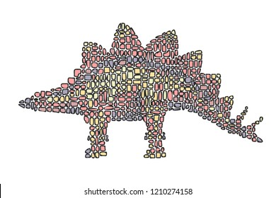 Hand drawn vector illustration in Mondriaan (Mondrian) style isolated pink dinosaur on a white background for design, banner, logo, poster.