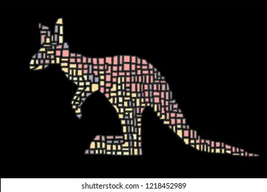 Hand drawn vector illustration in Mondriaan (Mondrian) style isolated pink kangaroo on a black background for design, banner, logo,  textile, poster.