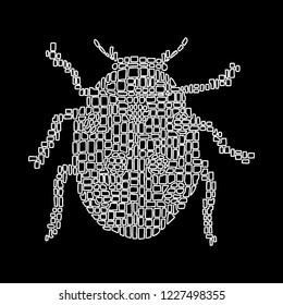 Hand drawn vector illustration in Mondriaan (Mondrian) style isolated ladybug white outline on a black background for design, banner, logo, poster, stained glass, cover page, mosaic, embroidery.