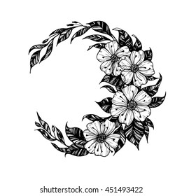 Hand drawn vector illustration - moon sign with flowers and leaves. Perfect for invitations, greeting cards, quotes, tattoo, textiles, blogs, posters etc.