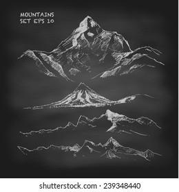 Hand drawn vector illustration. Mountain set. Vintage. Sketch. Chalkboard.