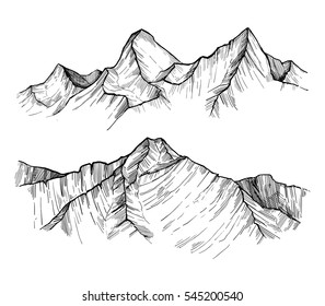 Hand drawn vector illustration - mountain peaks. Outdoor camping background in sketch style. Landscape.