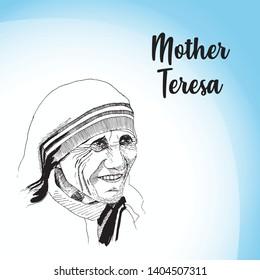 Hand drawn vector illustration of Noble Peace Prize Winner Mother Teresa
