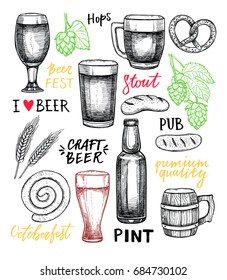 Hand drawn vector illustration - Octoberfest / beer fest (malt, hop, glass, bottle, sausages, Pretzel). Design elements in engraving style with lettering. Perfect for posters, prints, menu