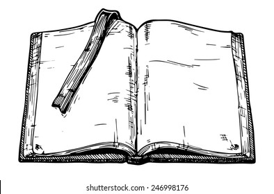 Hand drawn vector illustration of opened old book.
