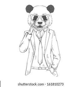 Hand Drawn Vector Illustration of Panda smoking cigarette in one color isolated on white