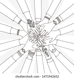 Hand drawn vector illustration of people holding their hands together