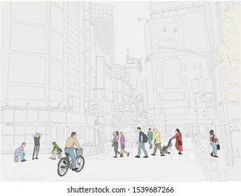 Hand drawn vector illustration. People cross the street in the beautiful and exciting Shinjuku neighborhood of Tokyo, Japan. People in color.