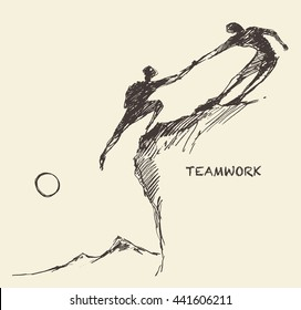 Hand drawn vector illustration of a person, helping man to climb, sketch. Teamwork, partnership concept