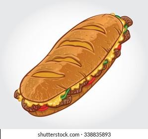 Hand drawn vector illustration of a Philly Cheese Steak Sandwich, Philadelphia Cheese Steak Sandwich.