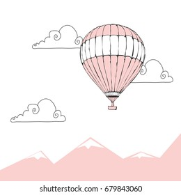 Hand drawn vector illustration - Pink air balloon and clouds