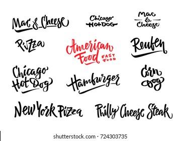 Hand drawn vector illustration popular American Food varieties Corn Dog, Chicago Hot Dog, Hamburger, Philadelphia Cheese Steak, Reuben Sandwich, Mac and Cheese, New York Pizza.