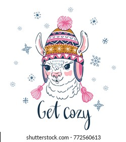 Hand drawn vector illustration with portrait of the alpaca in a knitted ornamental cap. Print for t-shirt design or greeting card.
