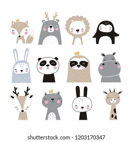 Hand drawn vector illustration for posters, cards, t-shirts. Cute sloth, hippo, fox, penguin, deer, tiger, bunny, panda, giraffe, bear
