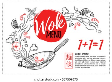 Hand drawn vector illustration - Promotional leaflet with Asian food. Wok. Perfect for restaurant brochure, cafe flyer, delivery menu. Ready-to-use design template with illustrations