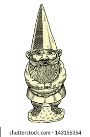 Hand drawn vector illustration of proud gnome.