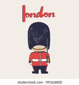 hand drawn vector illustration of Queen's Guard/ British Army soldiers/ London/can be used as kids or baby's shirt design/textile/ fashion graphic