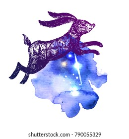 Hand drawn vector illustration rabbit with double exposure. Tattoo style graphic.