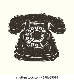 Hand drawn vector illustration of the retro telephone
