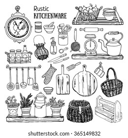 Hand drawn vector illustration rustic kitchen set. Black and white sketch of dishes isolated on white background