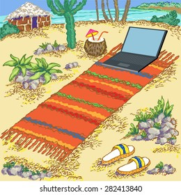 Hand drawn vector illustration. Sea beach, hut and laptop.Freelance on the tropical island. Simple living.